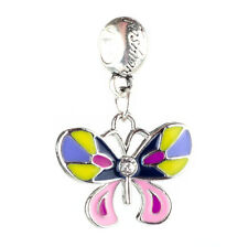 2pcs Colorful butterflies Charm Beads Fit European Charm Bracelet Pendant #F427