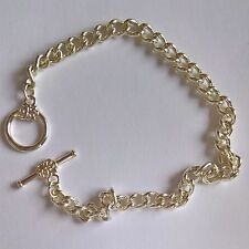 "Charm bracelets wholesale Silver plated 7.5"" multiples of 50. Flower toggle."