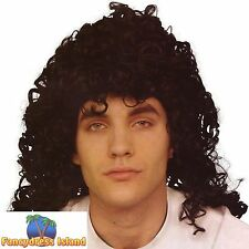 1950's BLACK CURLY GLAM ROCK'N'ROLL WIG Adults Mens Fancy Dress Costume