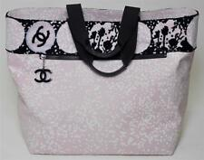 Beautiful Chanel Beach Summer Bag Tote NEW Pink Black Handbag