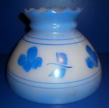"""Vintage Milk Glass Lamp Shade Blue Flowers & Trim 5 3/4"""" tall 7 7/8"""" fitter ring"""