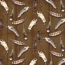MOOSE LODGE FEATHERS BROWN TIMBER FABRIC