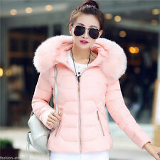 Hot Winter Warm Women Long Slim Down Cotton Fur Collar Hooded Coat Jacket Parka