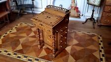 Miniature Dollhouse Artisan John Davenport Desk Marquetry Signed 1:12
