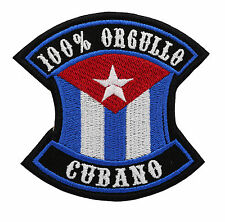 CUBAN FLAG 100% ORGULLO CUBANO Embroidered PATCH