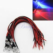 20x 5mm Red Blue Flashing Colors - Pre-wired LEDs 12V for Car Boat Motor MA43 MA