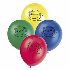 "8 Curious George 12"" Blue Red Yellow Green Birthday Party Printed Latex Balloons"