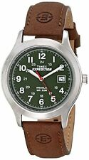 NEW Timex Mens T40051 Expedition Metal Field Watch with Brown Leather Band