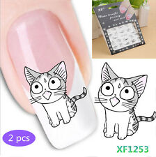 2 Sheets Cat Pattern Nail Art Tips Water Decals Transfers Sticker Manicure NEW