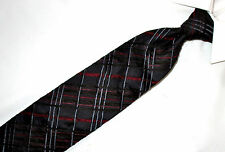 Kenzo red black gray silk cotton blend plaid velvet striped tie