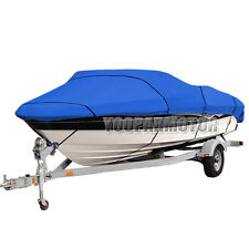 Heavy Duty 14-16ft Trailerable 210D Marine Grade Boat Cover Waterproof Blue