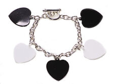 Magnificent  Monochrome Hearts Charm Bracelet & Anchor In Lock(Zx43/95)