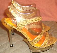 Celeste Gold Glitter Platform Stiletto Size 8