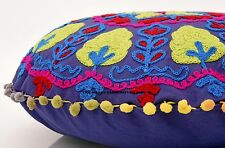 Indian Suzani Cushion Cover Vintage Pouf Cover Handmade Cotton Round Pillow Case
