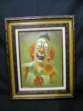 Original Oil On Canvas Framed Painting By HOPPIN Smiling Clown w/ Orange Flower