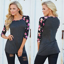 Women Casual Loose Long Sleeve Lace Tops Blouse Tee Shirt Floral Printed T-Shirt