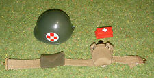 VINTAGE ACTION MAN 40th LOOSE MEDIC HELMET BELT WATER BOTTLE FIRST AID POUCH/BOX