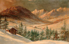 Fine Oil painting beautiful sunset landscape with small house and mountains
