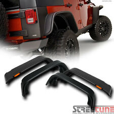 Blk Flat Style Fender Flares Kit Cover+Side Marker Lights 07-16 Jeep Wrangler 4D