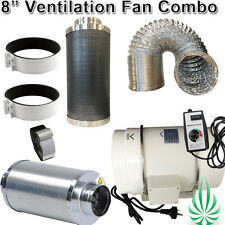 "8""/200mm Hydroponics 2 Speed Inline Fan With Controller Silencer Ducting Filters"