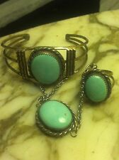 Old Pawn 1960's Castle Dome Turquoise Bracelet Ring Set Sterling
