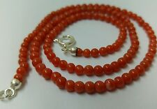 Natural Red Coral necklace 4mm , 46.5 cms. silver clasp