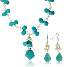 "20"" Drop Shape Turquoise Howlite + Cultured Freshwater Pearl Necklace & Earrings"