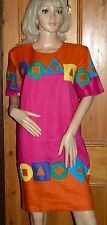 Vintage Deborah Laus Boutique Orange & Pink Geometric Pattern Dress Size UK12