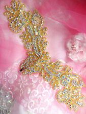 XR157 Applique Aurora Borealis Crystal AB Rhinestone Gold Beaded 13""