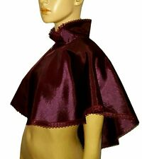 AUBERGINE PURPLE SILKY CAPE LACE EDGING CLOAK VICTORIAN STEAMPUNK GOTHIC WHITBY
