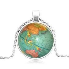 Vintage Cabochon Tibetan Silver/Bronze Glass World Map Pendant Necklaces #42