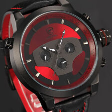 Men's Red Dial SHARK Stainless Steel Day Date Leather Sport Quartz Wrist Watch