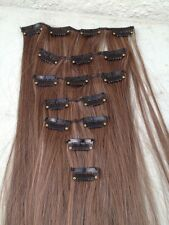 "chestnut brown 7 pcs set straight 20"" long clip in on hair extension heat resist"