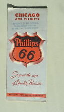 1951 Chicago & vicinity road  map Phillips 66 oil gas Cook County downtown sts