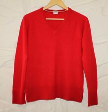 Red Lambswool BOOMERANG Knitted V Neck Long Sleeve Pullover Jumper Sweater Sz M