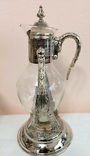 Vintage 4 Pc Silver Plate Glass  Coffee Decanter Pot Silver Tilt Stand