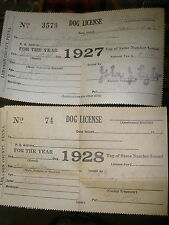2 vintage Dog License 1927 & 1928 Mixed & Collie dogs