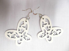 NEW WHITE CUT OUT OPEN WING BUTTERFLY SILHOUETTE WOODEN DANGLING INSECT EARRINGS