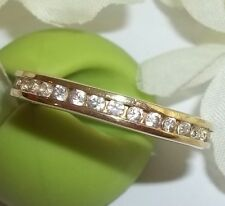 New Seta 925 Eternity 14K Gold Plated Sterling Silver Ring Sz 10 3/4 Band NOS