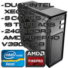DUAL INTEL XEON 8 CORE 16 THREAD 24GB RAM 2xGbit 2x300GB VRAPTORS WORKSTATION
