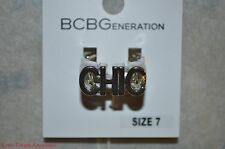 "BCBG Silvertone Stretch Ring Band ""CHIC"" BC70328 BCBGeneration GIFT IDEA $18"