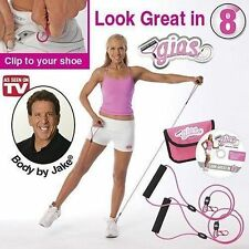 Gym In A Shoe Clip Handle Resistance Band GIAS Body Jake Exercise Workout Ab DVD