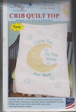 """1 Jack Dempsey """"Love You to the Moon"""" Stamped XStitch-Embroidery Crib Quilt Top"""