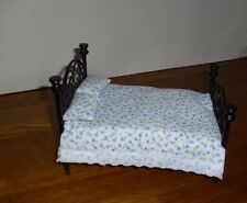 DOLLS HOUSE 12th  SHABBY CHIC THROW & 2 PILLOWS DOUBLE BEDDING SET