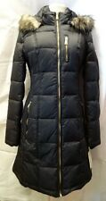NWT MICHAEL KORS Faux Fur Trim  Women Puffer Coat Hooded Black XS