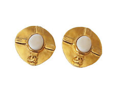 Auth CHANEL 98P France CC Logos Stone Gold-Tone Clip-on Earrings