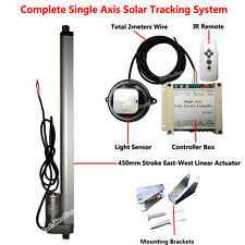"Solar Tracking Tracker Single Axis Complete Kit &18"" Linear Actuator &Controller"