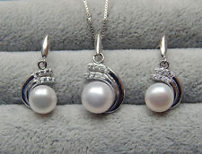 Genuine 6-8mm Freshwater Pearl Necklace and Earring set 925 silver Birthday Gift