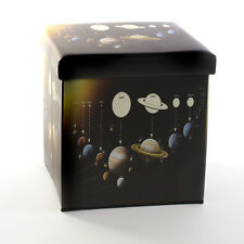 SOLAR SYSTEM Folding STORAGE BOX SEAT Ottoman Cube Foot Stool Home Office