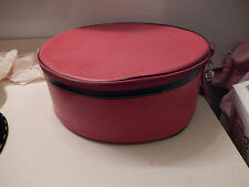 "Vintage red vinyl zippered hat case with handle- round 15 ½"" x 5 ½"""